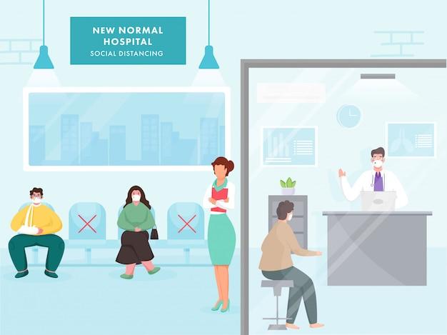 Sociale afstand in nieuw normaal ziekenhuis met medisch personeel en patiënt met beschermend masker om coronavirus te voorkomen.