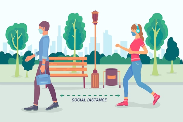 Sociale afstand in parkconcept