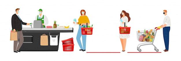 Sociale afstand in supermarkt