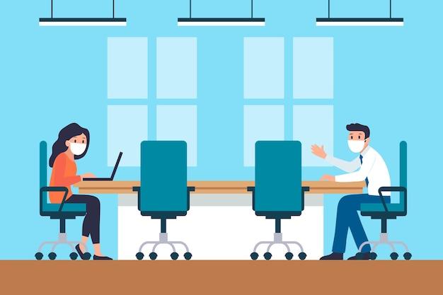 Sociale afstand in vergadering