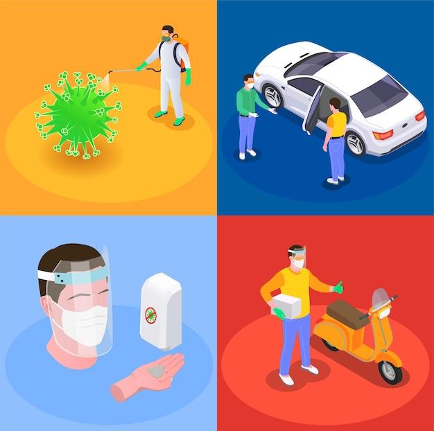 Sociale afstand isometrische illustratie set