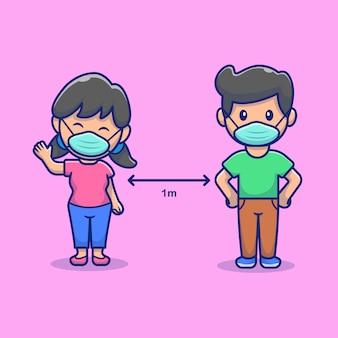 Sociale afstand mensen pictogram illustratie. jongen en meisje mascotte stripfiguur.