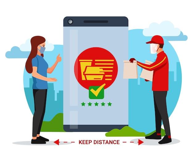Sociale afstand nemen bij het ontvangen van voedsel dat via de applicatie is besteld