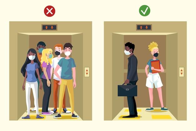 Sociale afstand nemen in een lift