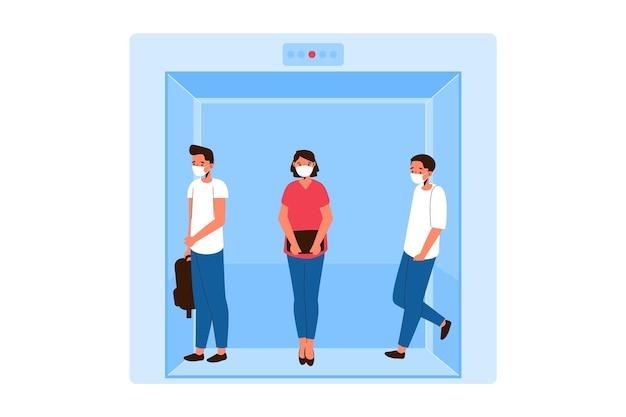 Sociale afstand nemen in een liftthema