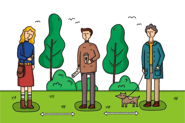 Sociale afstand nemen in een park met mensen en huisdieren