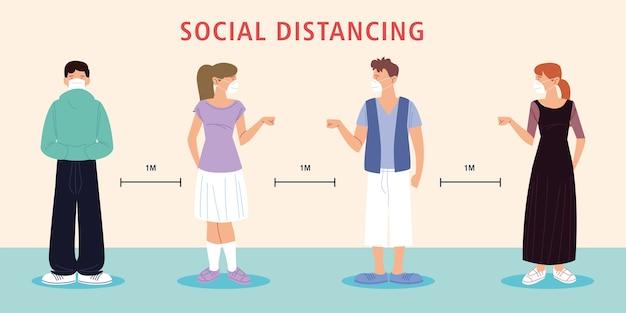 Sociale afstand nemen, mensen nieuw normaal, gezichtsmasker dragen en sociale afstand