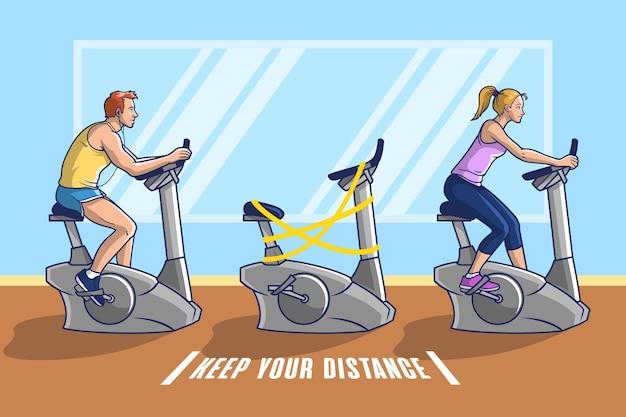 Sociale afstand nemen op gymfietsen