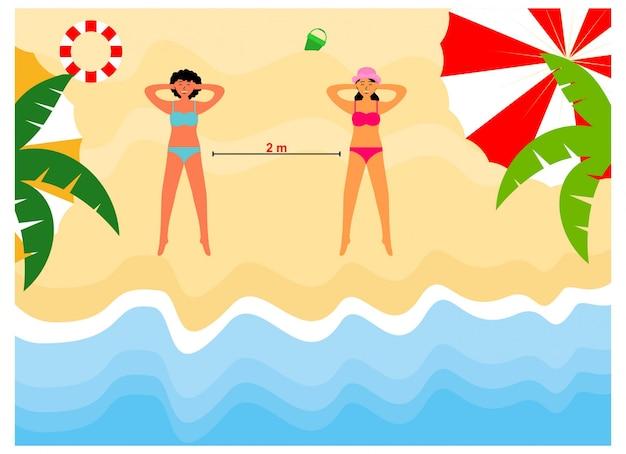 Sociale afstand nemen op het strand plat ontwerp