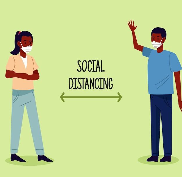 Sociale afstand nemen voor covid19-preventiecampagne met afro-paar dat medische maskers draagt