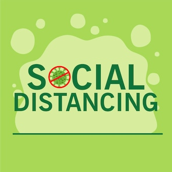 Sociale afstand nemen voor covid19-preventiecampagne met belettering