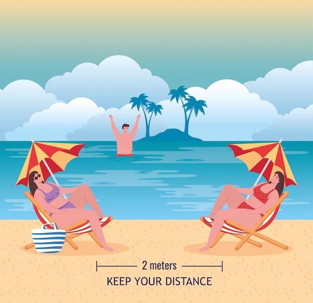 Sociale afstand op het strand, jongeren houden afstand twee meter, nieuw normaal zomerstrandconcept na coronavirus of covid-19 vectorillustratieontwerp