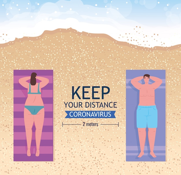 Sociale afstand op het strand, paar houdt afstand om te zonnebaden of zonnebaden op het strand, nieuw normaal zomerstrandconcept na coronavirus of covid-19
