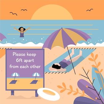 Sociale afstand op het strand