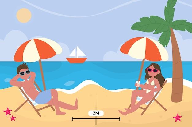Sociale afstand op het strand Gratis Vector