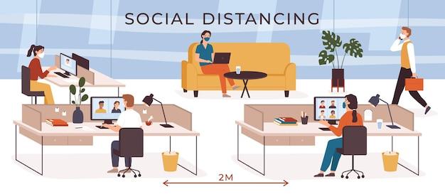 Sociale afstand op kantoor. mensen uit het bedrijfsleven met veiligheidsmaskers werken op de werkplek. videoconferentie. houd afstand bij baan vectorconcept. medewerkers houden afstand tijdens coronaviruspandemie