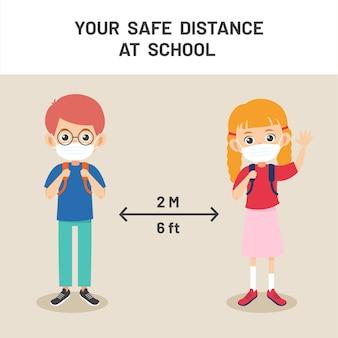 Sociale afstand op school illustratie. nieuw normaal levensstijlconcept. gelukkige jonge geitjes die gezichtsmasker dragen en sociale afstand nemen