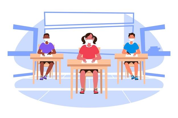Sociale afstand op schoolconcept