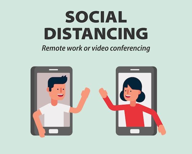 Sociale afstand, thuiswerken of mobiele videovergadering beschermen tegen covid-19, coronavirus illustratie infographic plat ontwerp