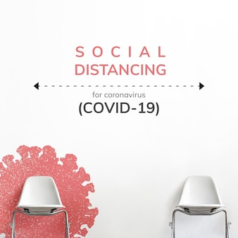 Sociale afstand tijdens coronavirus pandemie sociale sjabloon vector