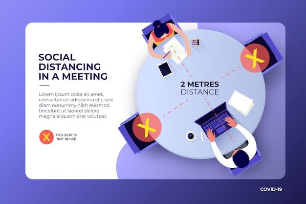 Sociale afstand tijdens een vergadering