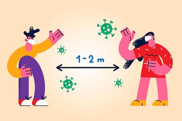 Sociale afstand tijdens pandemisch concept