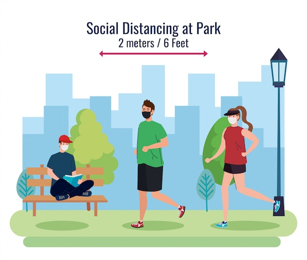 Sociale afstand tussen mannen en vrouwen met maskers in het park