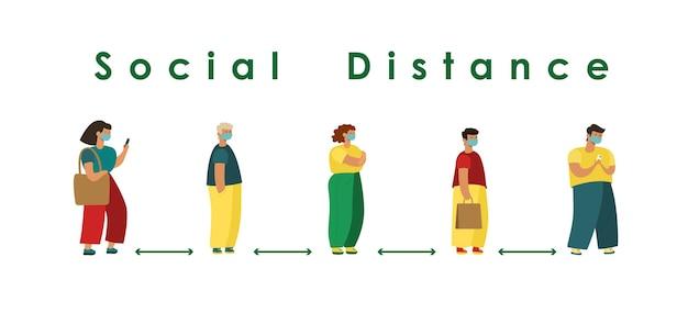 Sociale afstand volledige lengte van cartoon zieke mensen met medische maskers die in de rij staan