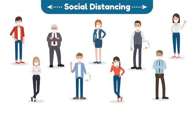 Sociale afstand voor de ziekte van coronavirus Premium Vector