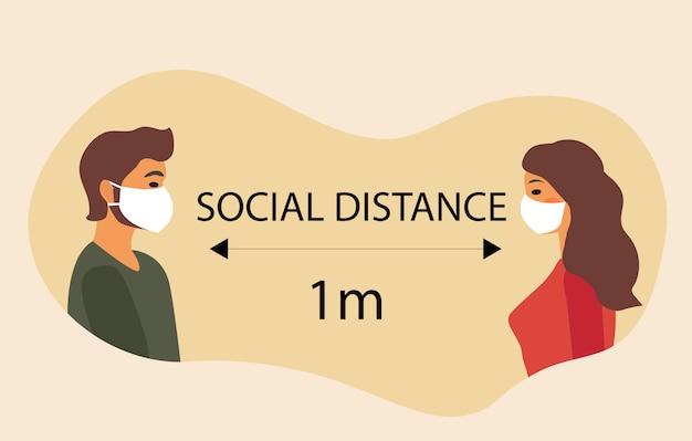 Sociale afstand, zelfisolatie coronaviruspreventie. de jongen en het meisje in maskers staan in de verte. illustratie moderne stijl