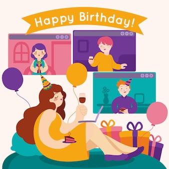Sociale afstandelijke gelukkige verjaardag