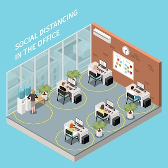 Sociale afstandelijke isometrische compositie met binnenaanzicht van kantoor met werkplekken ver van elkaar illustratie