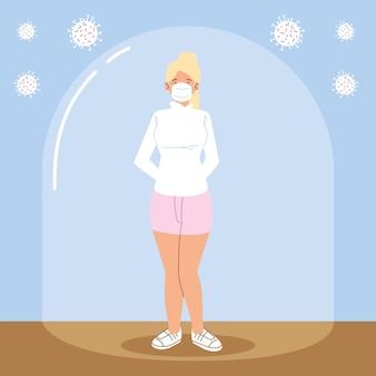Sociale afstandelijkheid, blonde vrouw met maskerpreventie tijdens coronavirus covid 19
