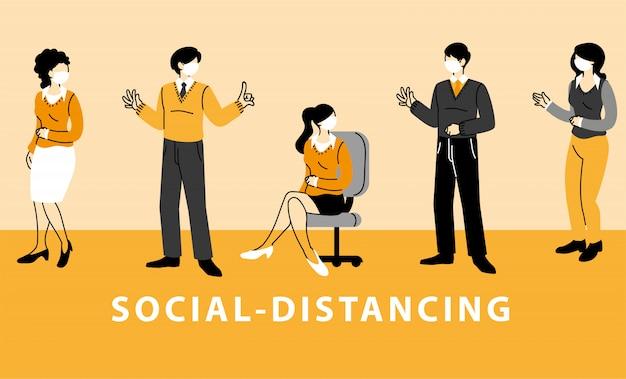 Sociale afstandhouders, zakenmensen dragen gezichtsmaskers