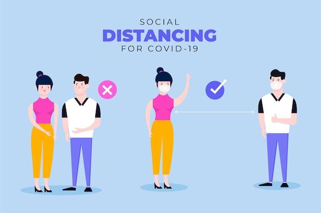 Sociale afstands infographic sjabloon