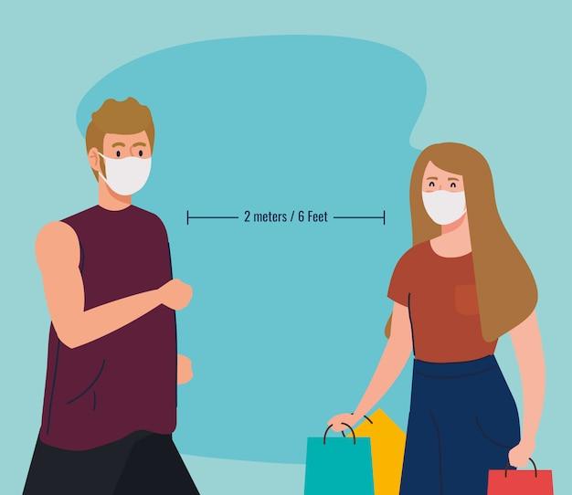 Sociale afstandsactiviteiten, paar dat activiteiten doet, houdt afstand in de openbare samenleving om te beschermen tegen covid 19