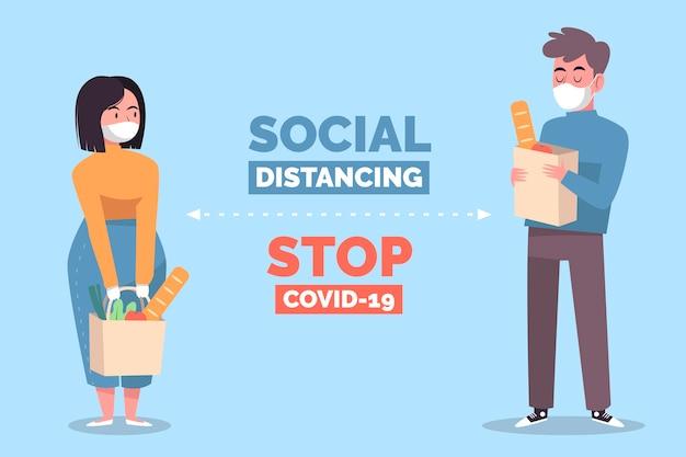 Sociale afstandsconceptenillustratie