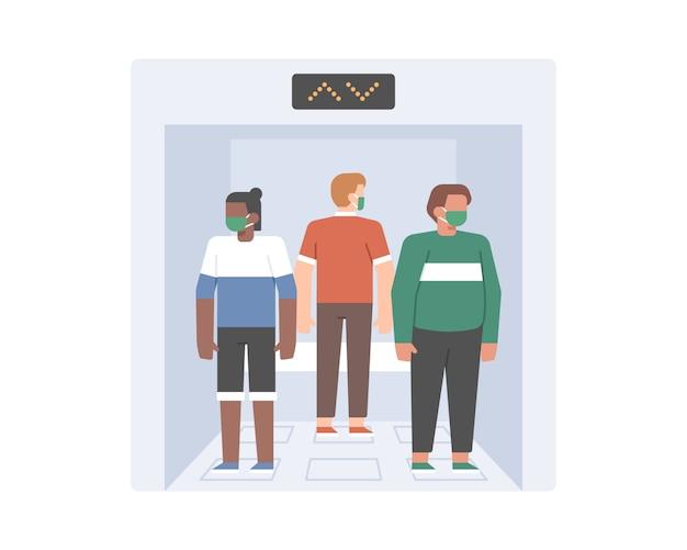 Sociale afstandsoefening in het concept van de liftillustratie
