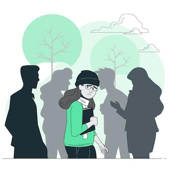 Sociale angst concept illustratie