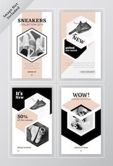Sociale banner brochure sjabloon met schoenen