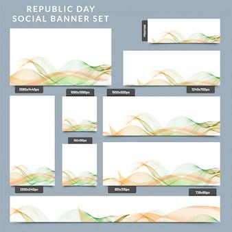 Sociale banner die met abstracte golvende indische vlagkleur wordt geplaatst.
