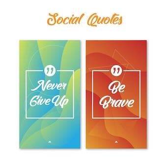 Sociale citaten met abstracte achtergrond