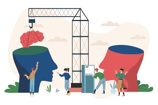 Sociale communicatie twee grote hoofden delen gedachten en ideeën Premium Vector