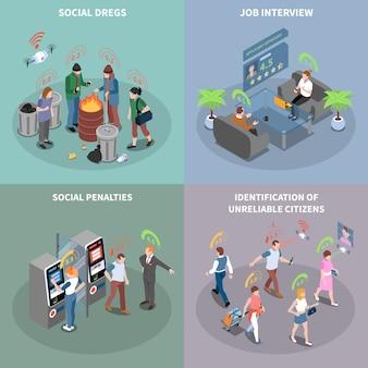 Sociale credit score systeem isometrische kaarten instellen