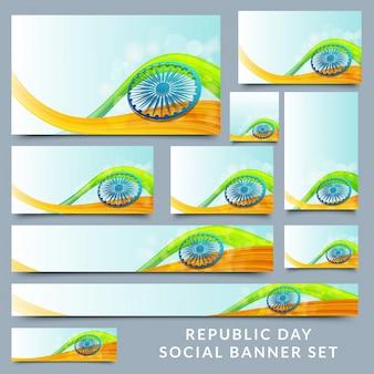 Sociale die banner met ashokawiel wordt geplaatst op nationale vlagkleur.