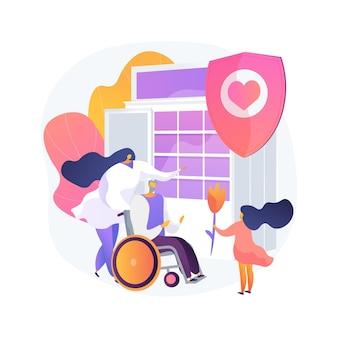 Sociale diensten abstract concept vectorillustratie. sociale werkbijstand, openbare welzijnsdienst, organisatie, mensen helpen, kinderbijslag, gehandicapte senior, vrijwilligerswerk abstracte metafoor.