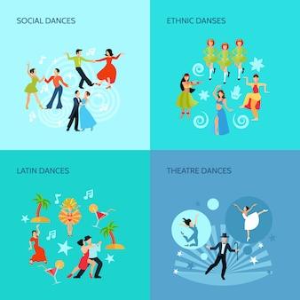 Sociale etnische latin en theater dansen vlakke stijl 4 posters concept