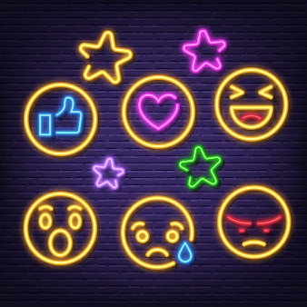Sociale feedback neon pictogrammen