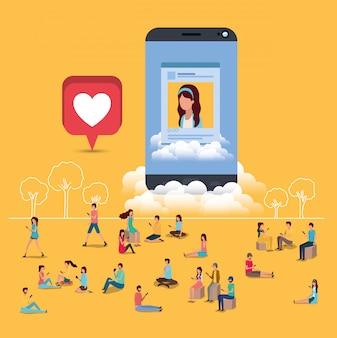 Sociale gemeenschap met smartphone