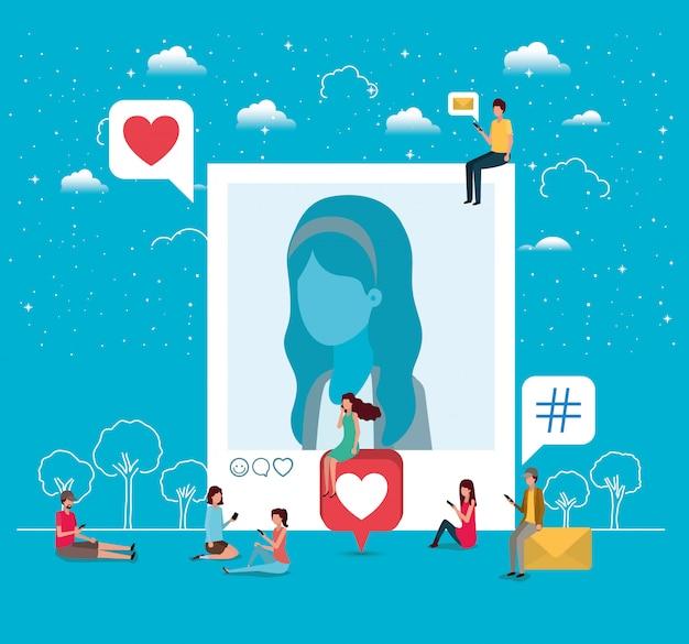 Sociale gemeenschap met vrouw profielfoto